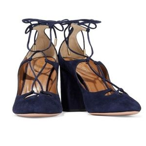 Aquazzura Suede Navy Blue Lace Up Heels